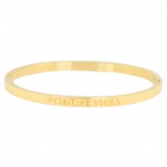 "Stainless steel bracelet thin with quote ""POSITIVE VIBES"" Gold"