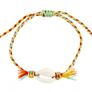 Weaved bracelet with kauri shell Multicolor yellow-red-blue