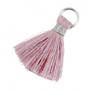 Ibiza style tassels 2cm Silver-Antique violet