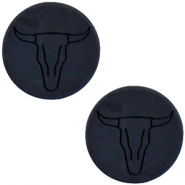 Bull head print cabochon flat Polaris Elements 20mm  Matt nero black