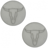 Bull head print cabochon flat Polaris Elements 20mm  Matt ice grey