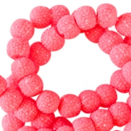 8 mm sparkling beads Fiery coral pink