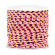 Trendy weaved cord Neon pink-purple-yellow