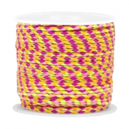 Trendy weaved cord Purple-rose-neon yellow