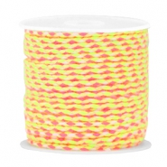 Trendy weaved cord Neon pink-neon yellow