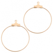 DQ metal creole earrings charms 30mm Rose gold (nickel free)