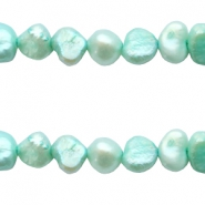 5-6mm Nugget freshwater pearls Mint green