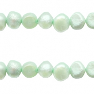 5-6mm Nugget freshwater pearls Light crysolite green