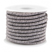 Trendy metallic string Silver brown