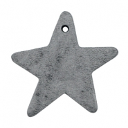 DQ star leather charms  Anthracite black