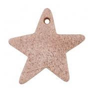 DQ star leather charms  Smoke cognac brown
