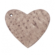 DQ heart leather charms  Chocolate brown