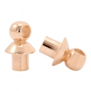 DQ metal end caps with eye for beads with a Ø4mm threading hole Rose gold (nickel free)