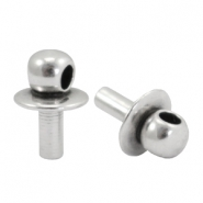 DQ metal end caps with eye for beads with a Ø1.9mm threading hole Antique silver (nickel free)