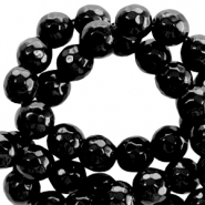 Natural stone round faceted beads 4 mm Black