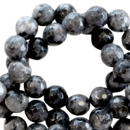 Natural stone round faceted beads 6 mm Antracite black