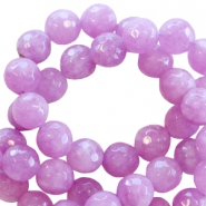 Natural stone round faceted beads 8 mm Light purple orchid