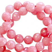Natural stone round faceted beads 8 mm Coral rose