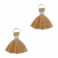 Tassels ibiza style 1cm Silver-rust brown
