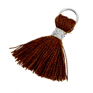 Tassels ibiza style 1.8cm Silver-chocolate brown