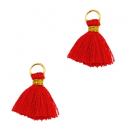 Tassels ibiza style 1cm Gold-scarlet red