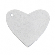 DQ leather charms heart Light grey