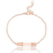 "Stainless steel bracelet with slogan ""let live rule"" Rose gold"
