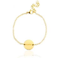 "Stainless steel bracelet with slogan ""positive"" Gold"