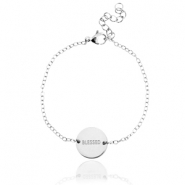 "Stainless steel bracelet with slogan ""blessed"" Silver"