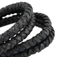 DQ round braided leather 8mm Black
