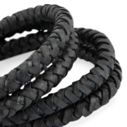 DQ round braided leather 6mm Black