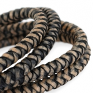 DQ round braided leather 6mm Black-vintage finish