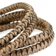 DQ round braided leather 8mm Medium earth brown-vintage finish