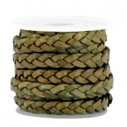 DQ flat braided leather 5mm Medium olive green