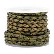 DQ round braided leather 3mm 4 strings Medium olive green-vintage finish