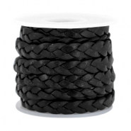DQ flat braided leather 5mm Black