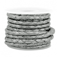 DQ round braided leather 3mm 4 strings Grey-metallic