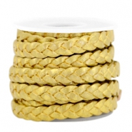 DQ flat braided leather 5mm Gold-metallic