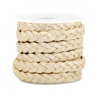 DQ flat braided leather 5mm Champagne gold-metallic
