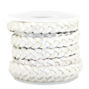 DQ flat braided leather 5mm Silver white-metallic