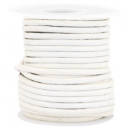 DQ round leather 3 mm White
