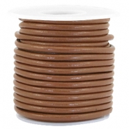 DQ round leather 3 mm Chocolate brown