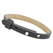 Cuoio leather bracelet 8 mm for 12 mm cabochon Carbon grey