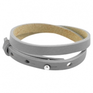 Cuoio leather bracelet 8 mm double for 12 mm cabochon Greige taupe