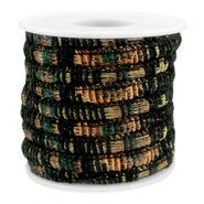 Trendy stichted cord 6x4mm Multicolor black-copper-dark green