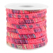 Trendy stichted cord 6x4mm Multicolor neon pink