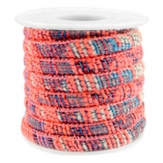 Trendy stichted cord 6x4mm Multicolor neon coral pink