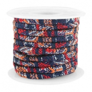 Trendy stichted cord 4x3mm Multicolor dark blue-red-orange