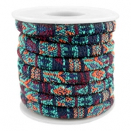 Trendy stichted cord 6x4mm Multicolor emerald-aubergine-orange