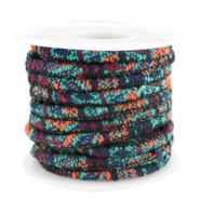 Trendy stichted cord 4x3mm Multicolor emerald-aubergine-orange